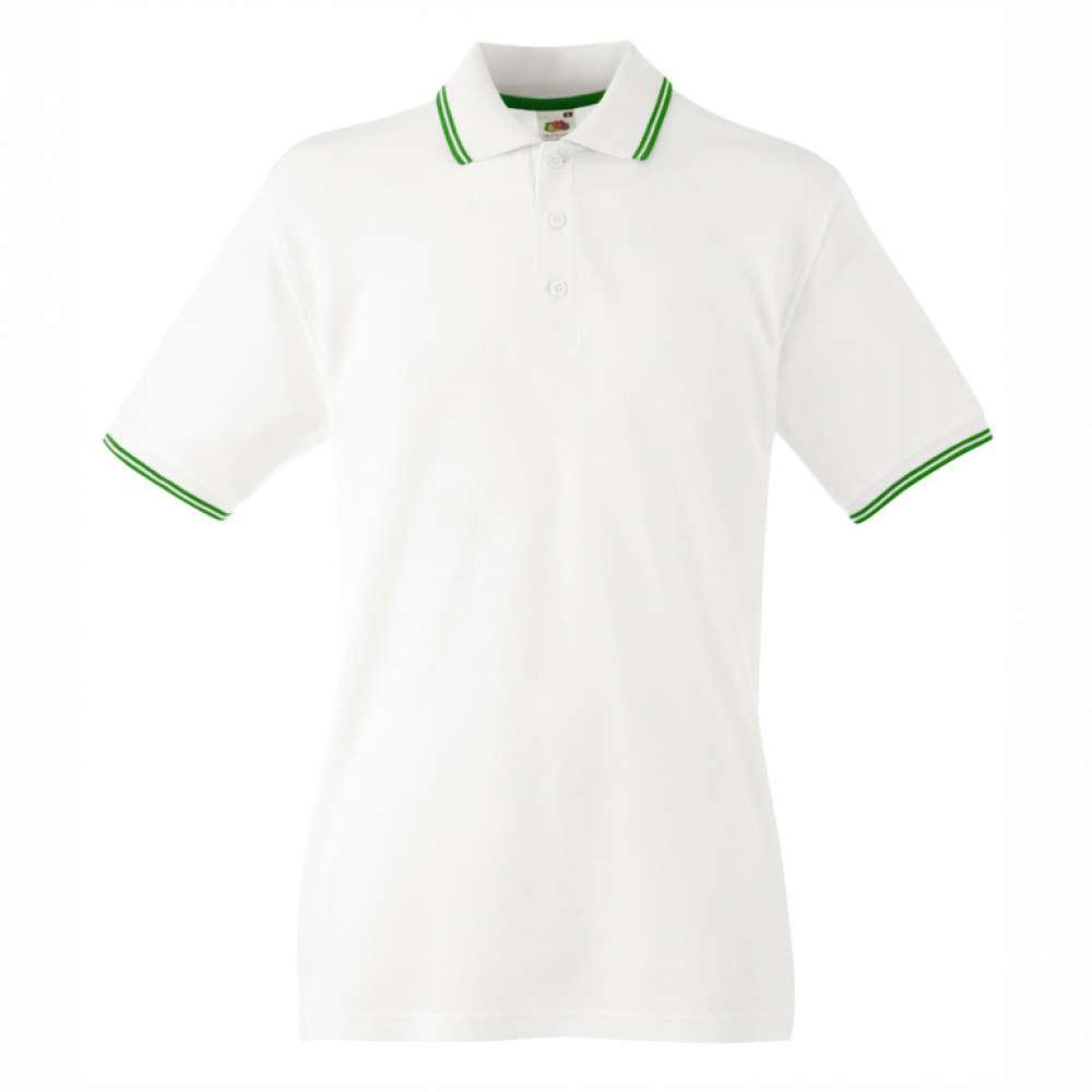 Мъжка поло тениска от 100% памук в бяло и зелено