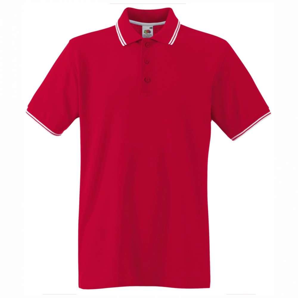 Мъжка поло тениска от 100% памук в червено и бяло