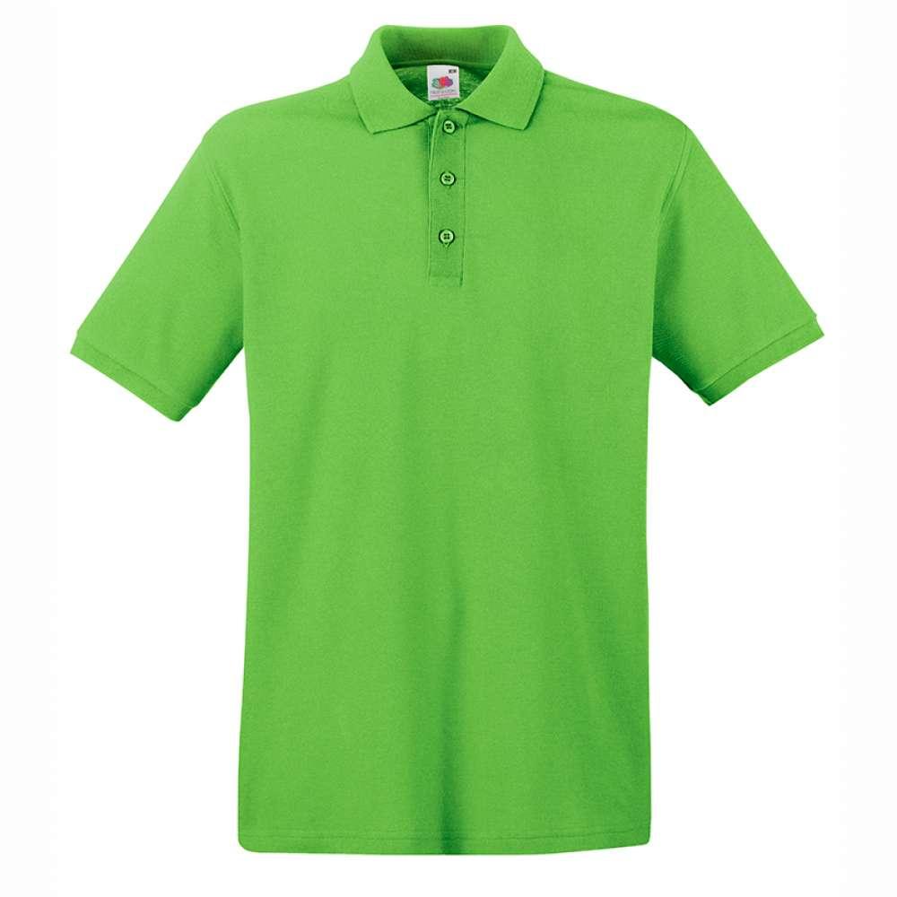 Мъжка поло тениска от 100% памук в цвят лайм