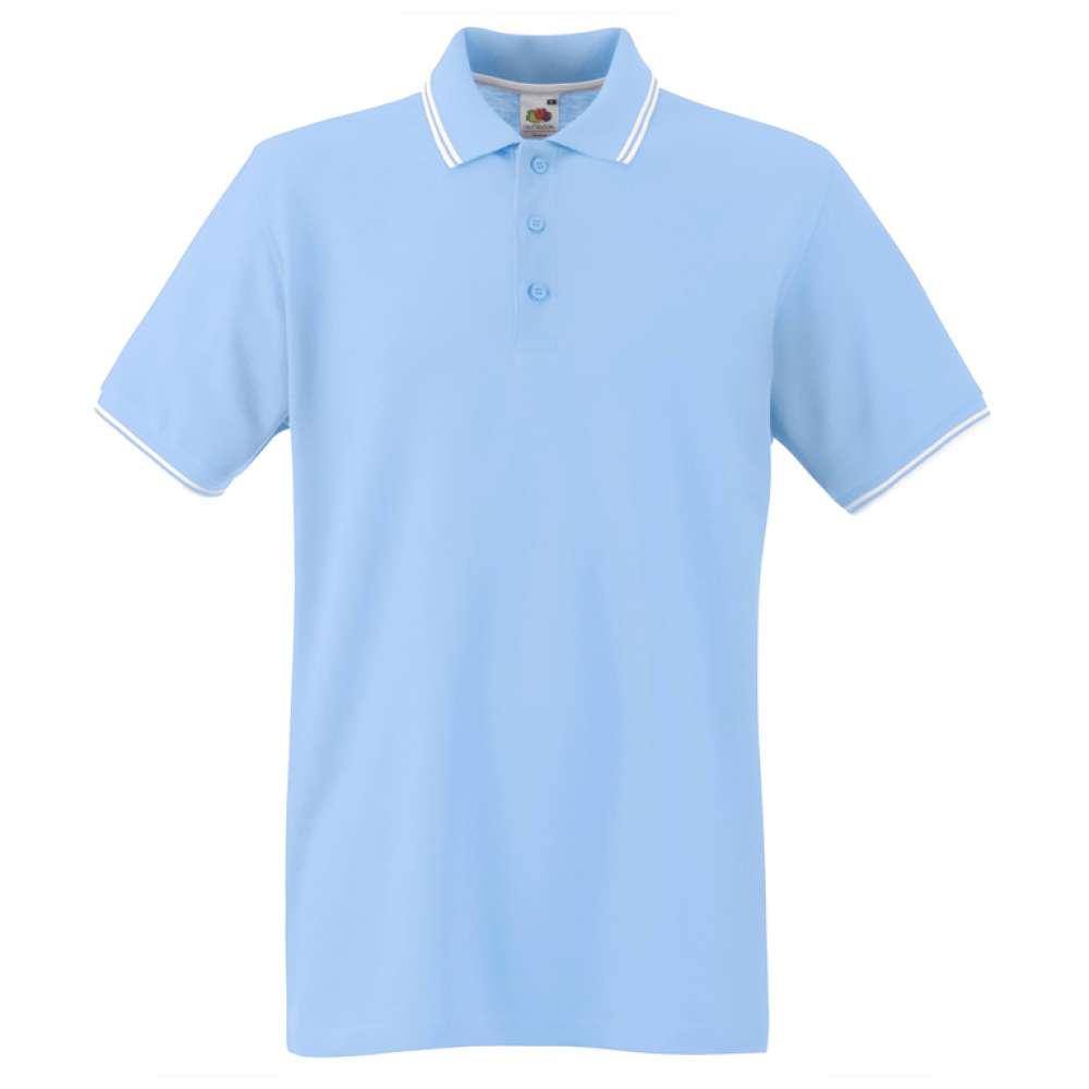 Мъжка поло тениска от 100% памук в небесно-синьо и бяло