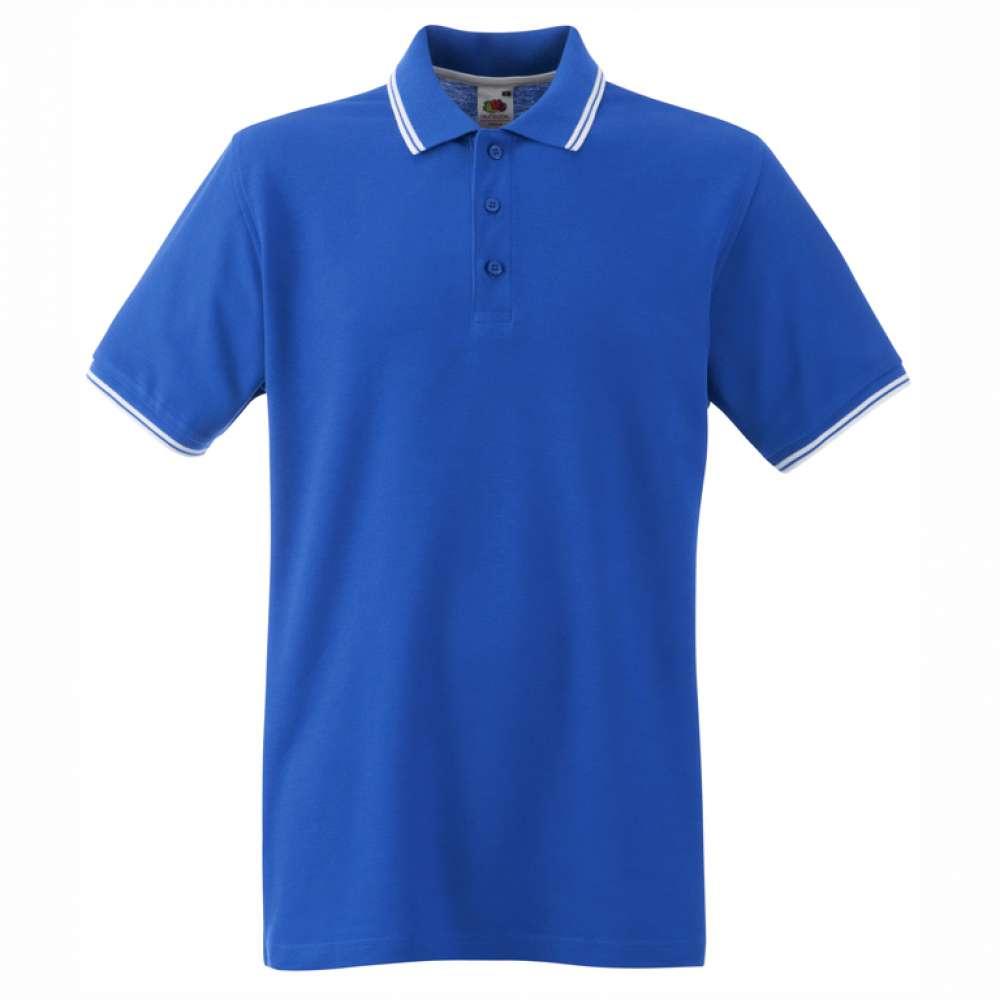 Мъжка поло тениска от 100% памук в синьо и бяло