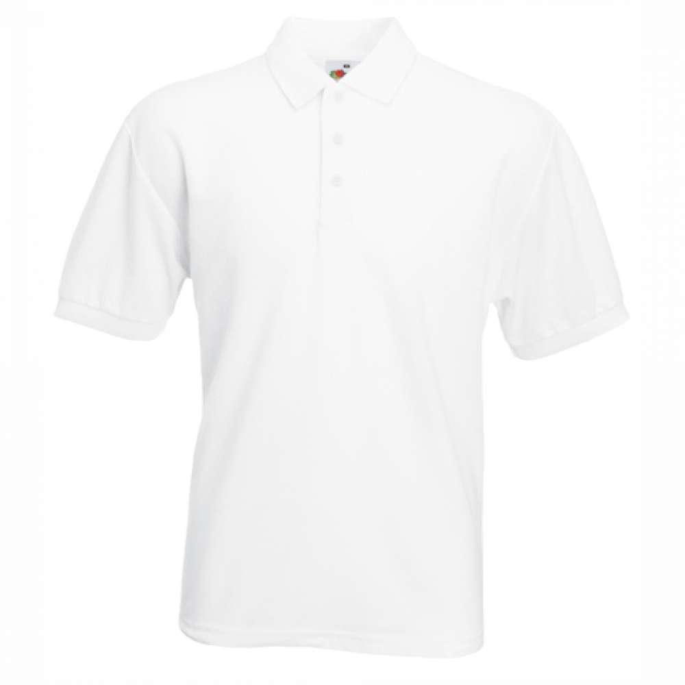 Мъжка риза поло пике от памук и полиестър в бяло
