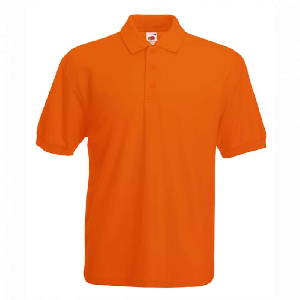 Мъжка риза поло пике от памук и полиестър в оранжево