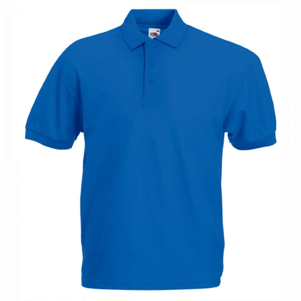 Мъжка риза поло пике от памук и полиестър в синьо
