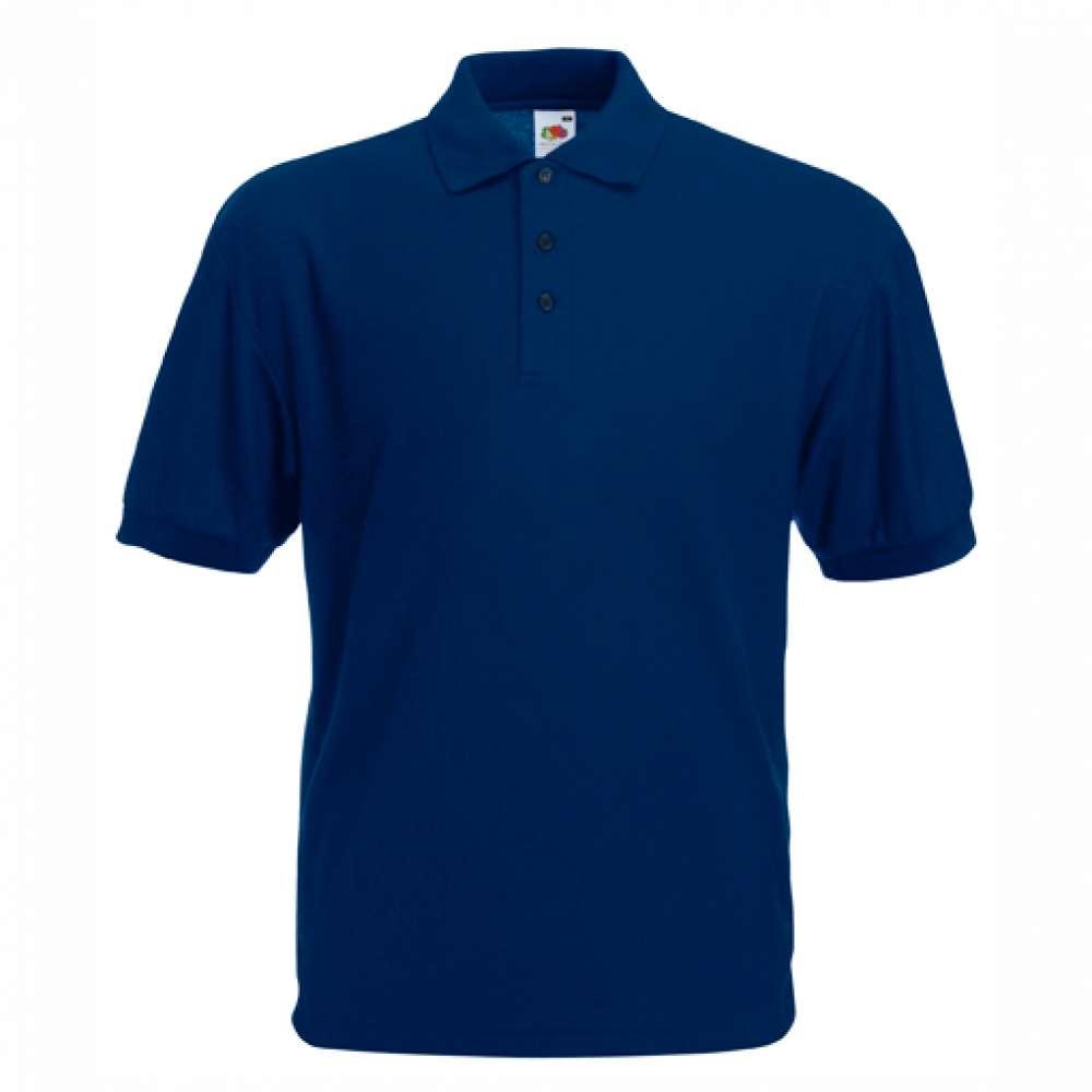Мъжка риза поло пике от памук и полиестър в тъмно-синьо